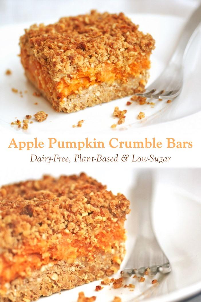 Low Sugar Vegan Apple Pumpkin Crumble Bars Recipe