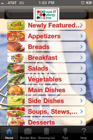 New cook it allergy free iphone and ipad app provides easy recipe cook it allergy free app for iphone and ipad forumfinder Choice Image