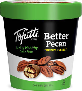 Tofutti Dairy-Free Ice Cream Reviews and Info - Vegan, Soy-Based, Classic. Pictured: Butter Pecan