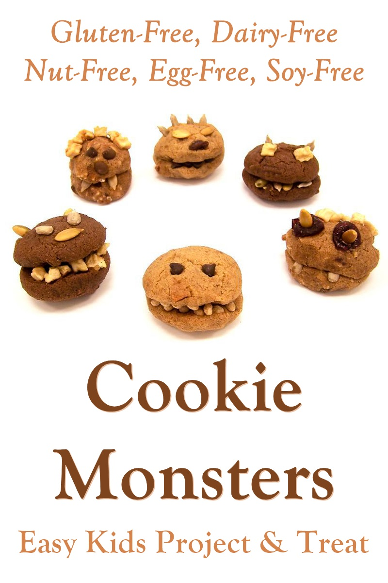 Cookie Monsters Recipe - Easy Halloween Treat and Fun Project for Kids (made Vegan, Gluten-Free, Dairy-Free, Nut-Free, Soy-Free, and Allergy-Friendly)