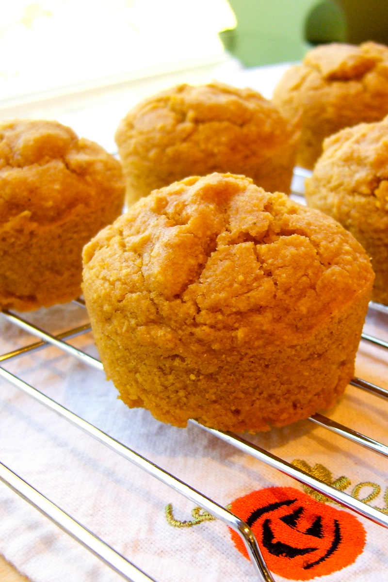 Gluten-Free Vegan Sweet Pumpkin Cornbread Muffins - a shortcut recipe! Made without dairy, eggs, gluten, nuts, and soy.