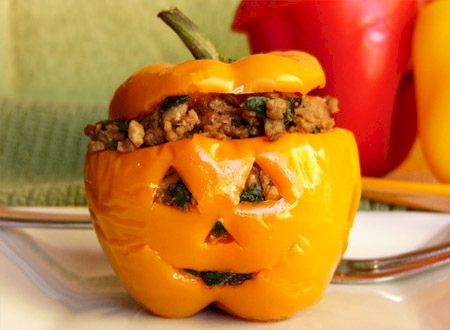 Vegan Jack-o-Squash Recipe - Stuffed Squash for Halloween