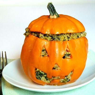Vegan Jack-o-Squash Recipe - Stuffed Squash for Halloween