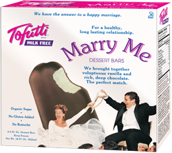 Tofutti Ice Cream Bars Reviews and Information - All Dairy-Free, Nut-Free, Vegan and Kosher Parve, with Sugar-free Options. Pictured: Marry Me Chocolate Covered Vanilla Ice Cream Bars