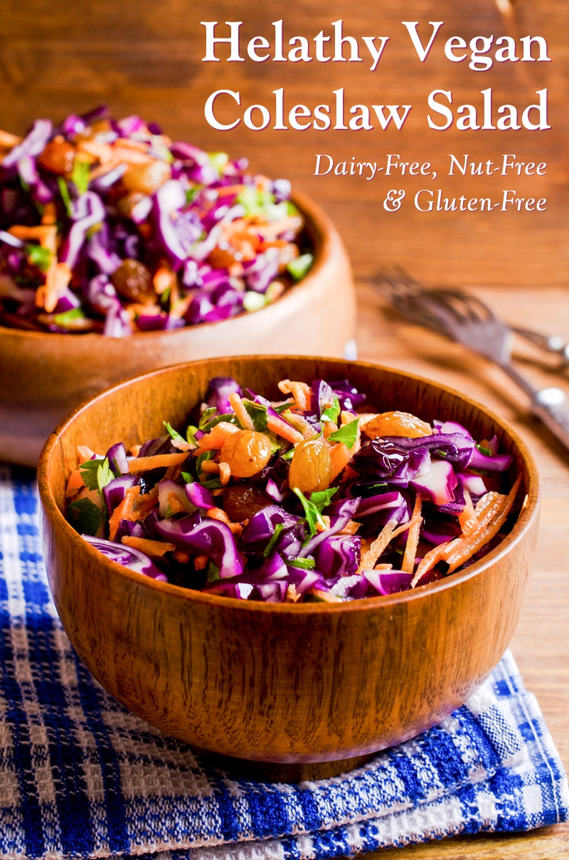 Healthy Vegan Coleslaw Salad Recipe - naturally dairy-free, gluten-free, nut-free, and loaded with nutritious ingredients. Includes cabbage, bell peppers, carrots, raisins, and optional hemp seeds.