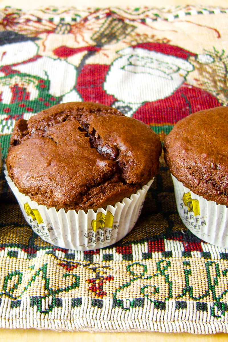 Quadruple Chocolate Vegan Muffins Recipe with Optional Dairy-Free Chocolate Frosting. Muffin meets Cupcake Satisfaction. Dairy-free, egg-free, nut-free.