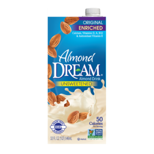 Almond Dream Almond Beverage Review and Information - for all 3 almond milk product lines - Classic Enriched, Ultimate (like homemade), and Boosted (fortified with omegas, protein, vitamins, and more)