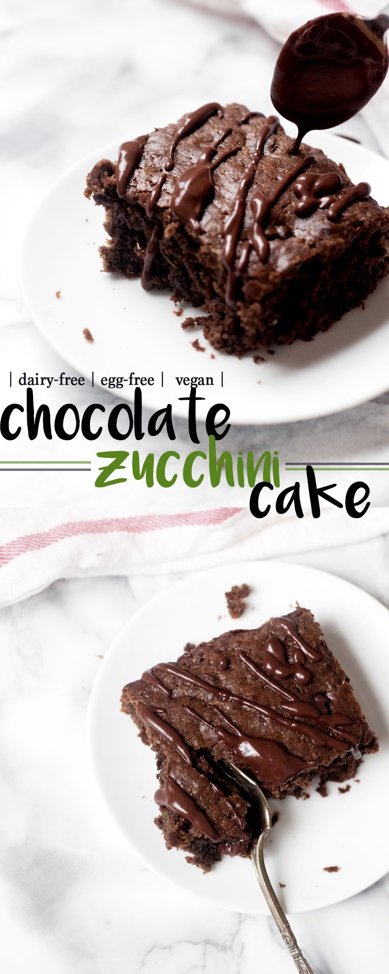 Vegan Chocolate Zucchini Cake Recipe with Optional Chocolate Drizzle