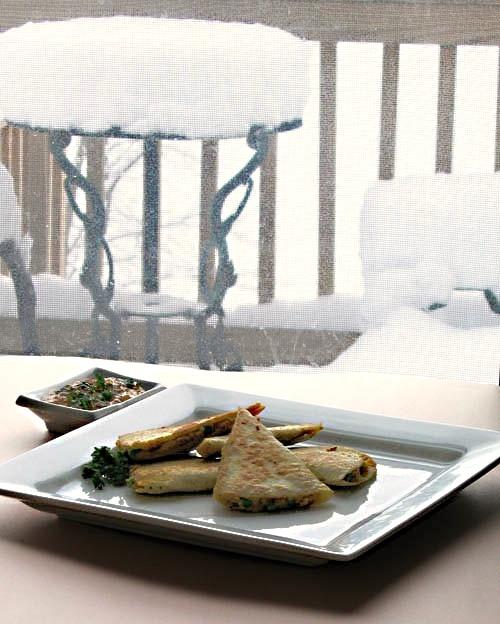 Samosadillas Recipe - vegan samosa quesadilla hybrid
