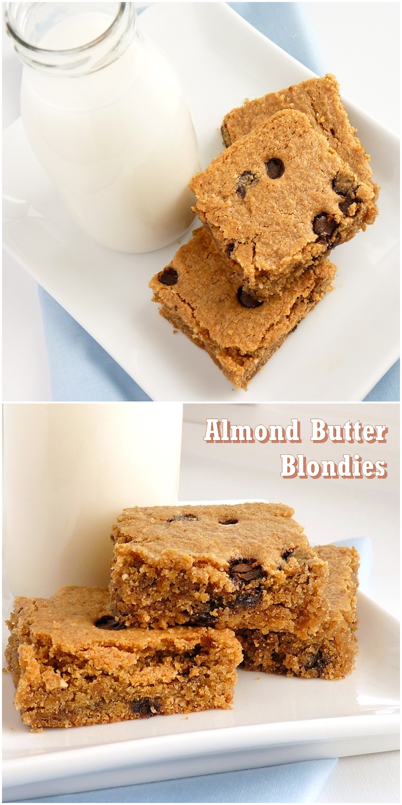 Almond Butter Blondies Recipe - a definitely touchdown for Team Blondie! Unbelievably gluten-free and vegan.