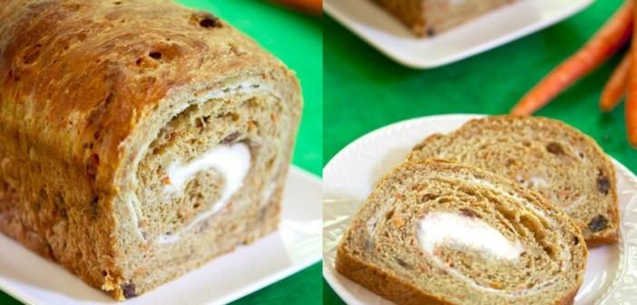 Vegan Carrot Cake Bread with Dairy-Free Cream Cheese Swirl