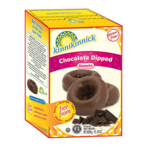 Kinnikinnick Donuts Reviews and Info - dairy-free, gluten-free, nut-free, soy-free frozen pastries. Pictured: Chocolate Glazed