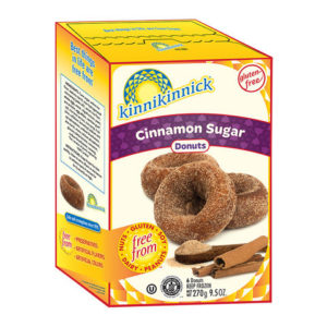 Kinnikinnick Donuts Reviews and Info - dairy-free, gluten-free, nut-free, soy-free frozen pastries. Pictured: Cinnamon Sugar