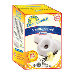 Kinnikinnick Donuts Reviews and Info - dairy-free, gluten-free, nut-free, soy-free frozen pastries. Pictured: Vanilla Glazed