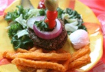Vegan Veggie Burger and Oven Baked Fries