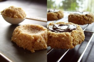 Peanut Butter Chocolate Thumbprint Macaroons - easy, yet dairy-free, gluten-free and vegan! Nut-free option.