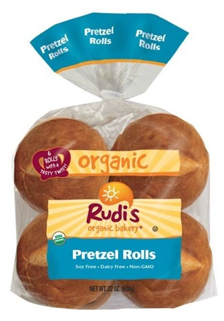 Rudi's Organic Bakery Rolls, Tortillas, English Muffins, Soft Pretzels, and Bagels (Pretzel Rolls pictured)