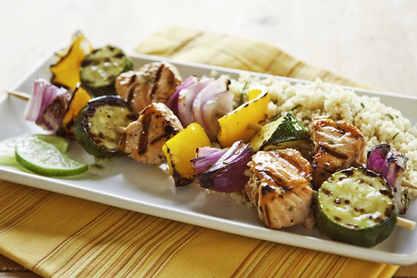 Rosemary-Lime Salmon Skewers with Zucchini and Bell Peppers (Grill or Broil!) - dairy-free, gluten-free, paleo