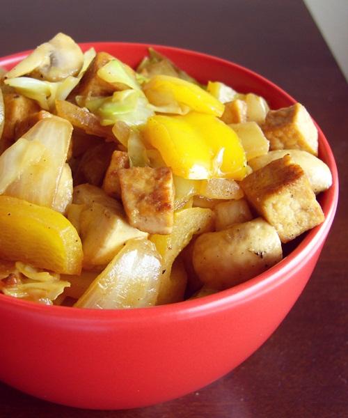 Golden Tofu Brown Rice Bowl with Vegetables - Vegan