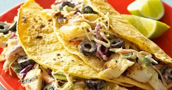 Gluten-Free Fish Tacos with Dairy-Free Sour Cream, Salsa, and Lindsay Olives