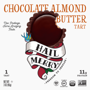 Hail Merry Tarts Reviews and Info - dairy-free, raw, plant-based, vegan, wholesome, rich, sweet desserts. Pictured: Chocolate Almond Butter
