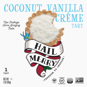 Hail Merry Tarts Reviews and Info - dairy-free, raw, plant-based, vegan, wholesome, rich, sweet desserts. Pictured: Coconut Vanilla Creme