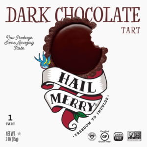 Hail Merry Tarts Reviews and Info - dairy-free, raw, plant-based, vegan, wholesome, rich, sweet desserts. Pictured: Dark Chocolate