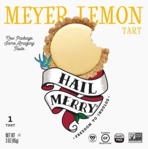 Hail Merry Tarts Reviews and Info - dairy-free, raw, plant-based, vegan, wholesome, rich, sweet desserts. Pictured: Meyer Lemon