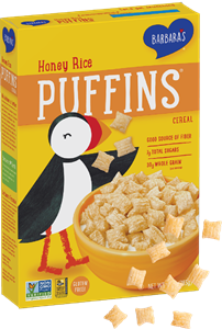 Puffins Cereal by Barbara's Bakery - Reviews and Information. Comes in 8 varieties, all dairy-free and plant-based! Pictured: Honey Rice