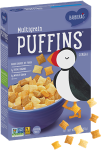 Puffins Cereal by Barbara's Bakery - Reviews and Information. Comes in 8 varieties, all dairy-free and plant-based! Pictured: Multigrain