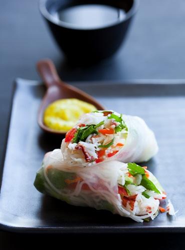 Gluten-Free Crab Salad Rolls with Spicy Mango Sauce