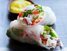 Gluten-Free Crab Salad Rolls with Spicy Mango Sauce