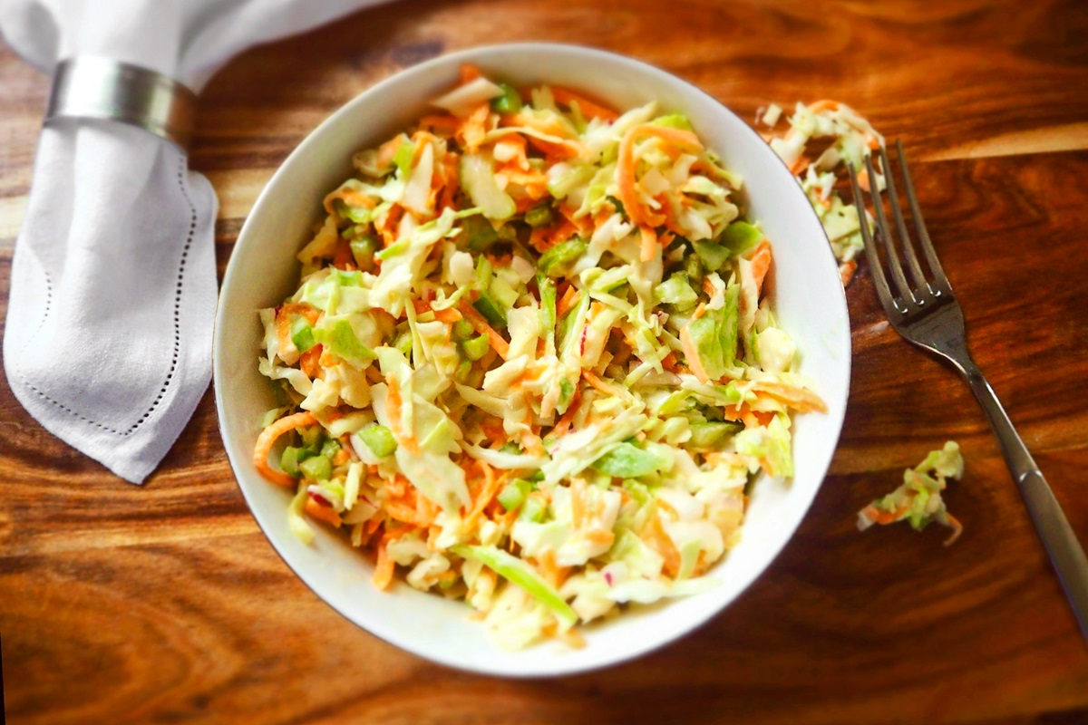 Creamy Cajun Coleslaw Salad Recipe - naturally dairy-free and gluten-free with vegan option