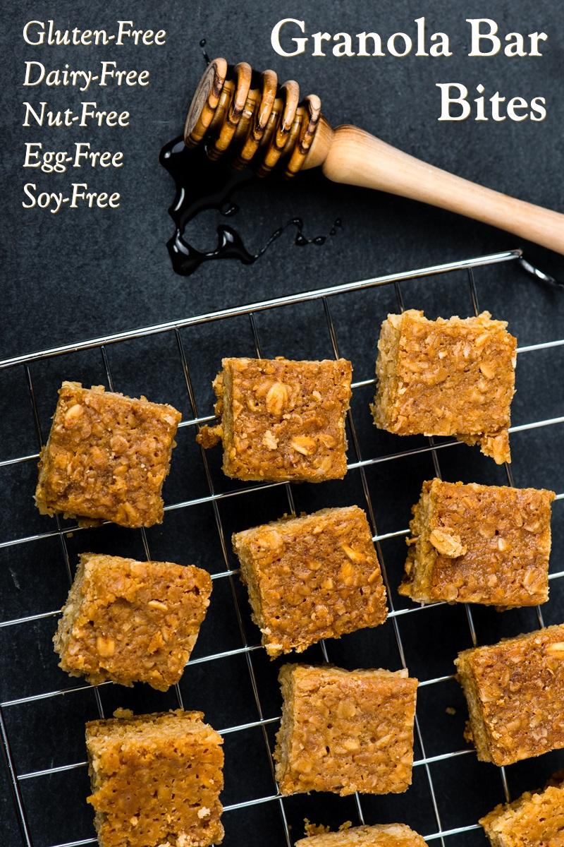 Baked Granola Bar Bites Recipe - naturally dairy-free, gluten-free, egg-free, nut-free, peanut-free, and soy-free