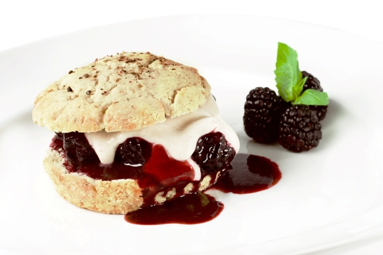 Chef Tal Ronnen's Black Pepper Shortcakes with Blackberry Basil Sauce Recipe (vegan, dairy-free)