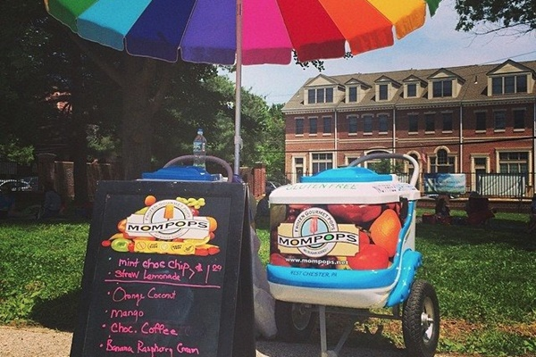 "Mompops - Dairy-Free, Gluten-Free, Nut-Free, Soy-Free, Vegan Frozen Desserts sold at ""Pop Carts"" around West Chester, PA"