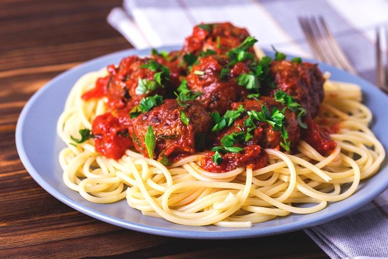 Egg-free dairy-free Italian Meatballs with Pasta Marinara recipe - allergy-friendly and optionally gluten-free!