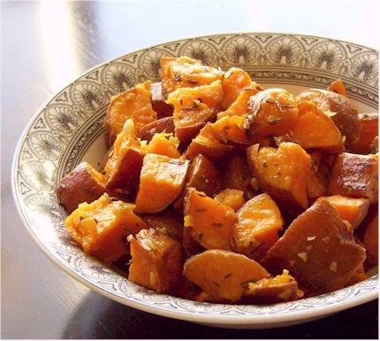 Sweet Potatoes Baked with Thyme and Garlic (roasted)