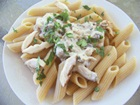 Shiitakes and Whole Wheat Penne in a Creamy Low-Fat, Vegan Garlic Sauce