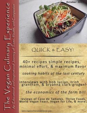 Vegan Culinary Experience Free Recipes - October 2011