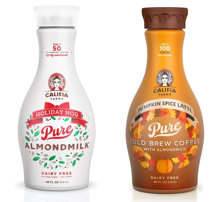 Dairy-Free Holiday Beverages - Califia Farms Holiday Nog and Pumpkin Spice Latte