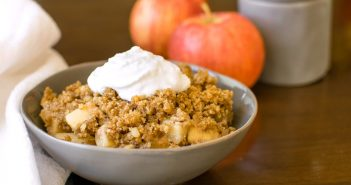 Vegan Maple Pecan Apple Crisp Recipe - dairy-free and butter-less! Gluten-free optional. Healthier with tons of variations and options to customize.