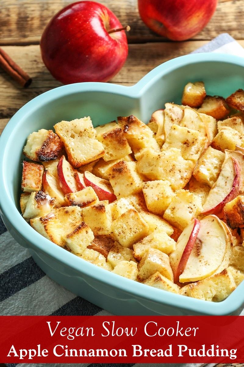Slow Cooker Vegan Apple Cinnamon Bread Pudding Recipe with Gluten-Free Option
