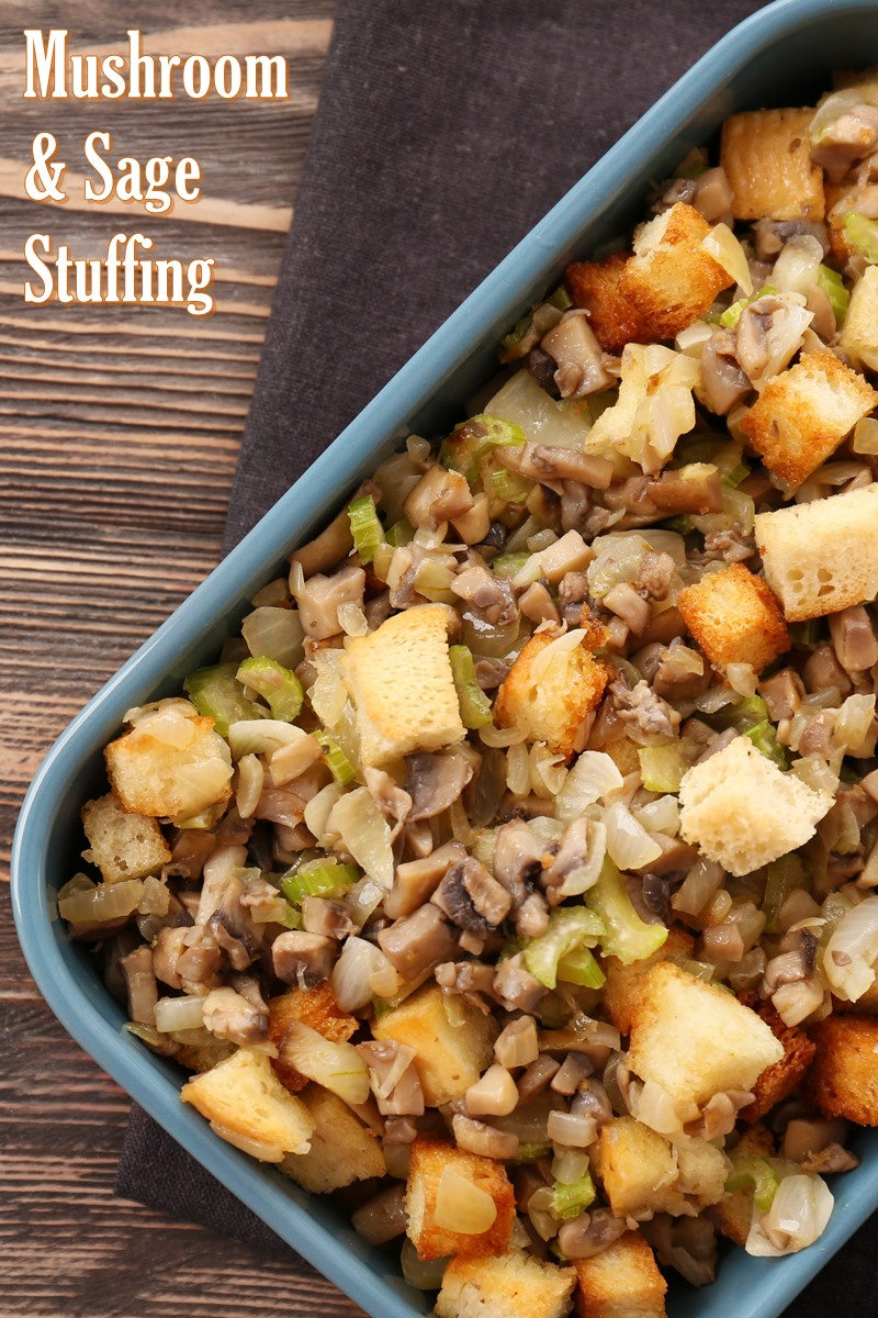 Dairy-Free Mushroom Sage Stuffing Recipe (Chef Created!) with gluten-free, nut-free, and vegan options #holidaystuffing #mushroomstuffing #dairyfreestuffing