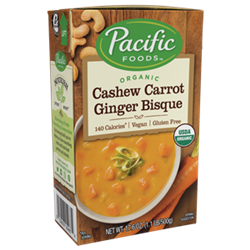 Pacific Foods Hearty Soups Reviews and Info - Dairy-Free Varieties. Pictured: Cashew Carrot Ginger Bisque