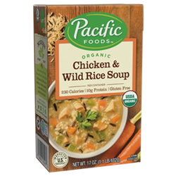 Pacific Foods Hearty Soups Reviews and Info - Dairy-Free Varieties. Pictured: Organic Chicken and Wild Rice