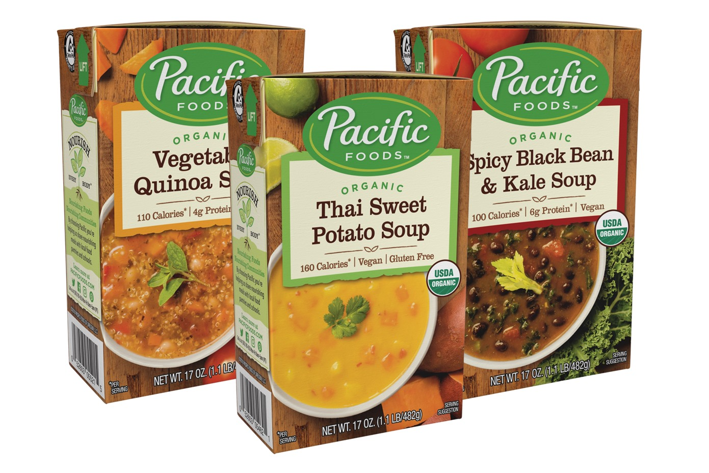 Pacific Foods Hearty Soups Reviews and Info - Dairy-Free Varieties. Pictured: Three Top Organic Flavors