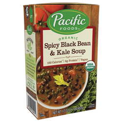 Pacific Foods Hearty Soups Reviews and Info - Dairy-Free Varieties. Pictured: Organic Spicy Black Bean and Kale