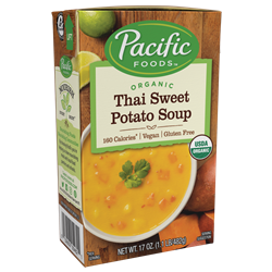 Pacific Foods Hearty Soups Reviews and Info - Dairy-Free Varieties. Pictured: Organic Thai Sweet Potato