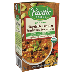 Pacific Foods Hearty Soups Reviews and Info - Dairy-Free Varieties. Pictured: Organic Vegetable Lentil and Roasted Red Pepper - Low Sodium